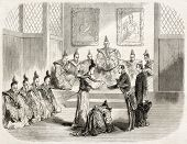Gustave Duchesne de Bellecour, French ambassador, received by the Taicoun in Yeddo (Tokyo). Created
