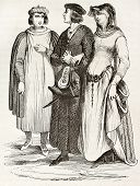 French bourgeois in traditional medieval clothes, old illustration. After manuscript of Miracles de Saint Louis,published on Magasin Pittoresque, Paris, 1844