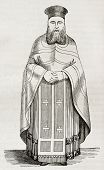 Old illustration of Greek orthodox priest vestment. Created by Durand, published on Magasin Pittores