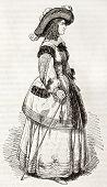 Marie de Bourbon, Duchess of Montpensier (known as Mademoiselle de Montpensier), old engraved portrait. Created by Montigneul, published on Magasin Pittoresque, Paris, 1844