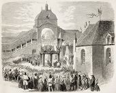 Napoleon III and Empress Eugenie welcome at Saint-Anne Chapel, Auray. Created by Janet-Lange after photo of Carlier de Vannes, published on L'Illustration, Journal Universel, Paris, 1858