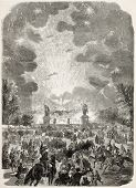 Fireworks spectacle in Trocadero, Paris. Created by Provost, published on L'Illustration, Journal Universel, Paris, 1858