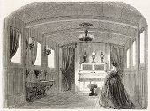 Napoleon III imperial yacht old illustration: empress private lounge. Created by Goddur after Yriarte, published on L'Illustration, Journal Universel, Paris, 1858