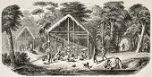Caribbean village in Dutch Guyana. Created by Worms after Bray, published on L'Illustration, Journal