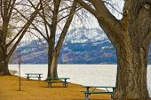 Picnic tables at the beach of Okanagan Lake, Kelowna, Canada.
