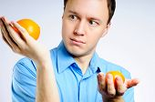 Man In A Shirt With Two Oranges