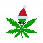 Smiling Happy Marijuana Weed In Christmas Hat. Vector Flat Cartoon Character Illustration Icon Desig poster