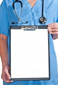 a doctor whit a clipboard over a white background