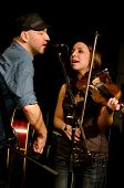 VANCOUVER, CANADA - MARCH 27: Trio Starbirds. Kalissa Hernandez and Tom Landa on the stage of The Ja