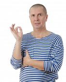 Portrait of smart seaman gesturing okay sign isolated on white background