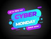 Cyber Monday, Discount Sale Concept. Inscription Design Template. Cyber Monday Banner. Vector Illust poster