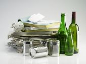 recyclable item glass,paper and cans