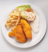fish and chips on the plate ready to serve