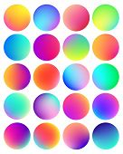 Rounded Holographic Gradient Sphere Button. Multicolor Fluid Circle Gradients, Colorful Soft Round B poster