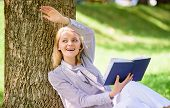 Girl Lean On Tree While Relax In Park Sit Grass. Self Improvement Book. Business Lady Find Minute To poster
