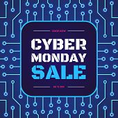 Vector Cyber Monday Sale Banner On Electric Background For Your Website, Shop, Christmas Sign, Super poster