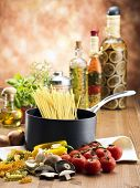 stock image of the pasta and ingredients