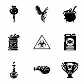 Chemical Poison Icons Set. Simple Set Of 9 Chemical Poison Vector Icons For Web Isolated On White Ba poster