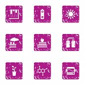 Chemical Effect Icons Set. Grunge Set Of 9 Chemical Effect Vector Icons For Web Isolated On White Ba poster