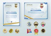 White Modern Certificates With Abstract Gold Ribbon And Set Of Emblems. Horizontal And Vertical Temp poster
