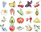 Healthy Food Set Of Low Carb Keto Ketogenic Diet In Watercolor Style. Collection Of Watercolor Icons poster