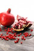 Ripe And Juicy Pomegranate. Red Organic Pomegranate. poster