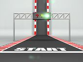 Race Start Line On Racing Track And Green Light On Traffic Light 3d Illustration poster