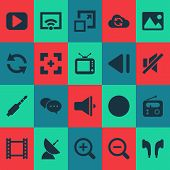Media Icons Set With Image, Slow Backward, Synchronize And Other Previous Elements. Isolated  Illust poster