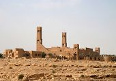 stock photo of riyadh  - Mosque in the desert near Riyadh city - JPG