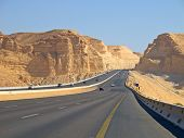 Road in the desert. Riyadh-Makkah highway, Saudi Arabia.