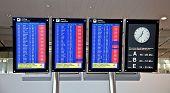 ZURICH - APRIL 17: Zurich airport Time board showing flights, canceled due to Volcanic eruption, 17 April 2010 in Zurich, Switzerland.