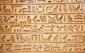 pic of rock carving  - old egypt hieroglyphs carved on the stone - JPG