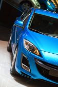 GENEVA - MARCH 7:Blue Mazda 3 on display at the 79th International Motor Show Palexpo-Geneva on Marc