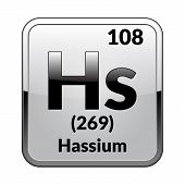 Hassium Symbol.chemical Element Of The Periodic Table On A Glossy White Background In A Silver Frame poster