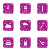 Beauty Parlour Icons Set. Grunge Set Of 9 Beauty Parlour Vector Icons For Web Isolated On White Back poster