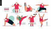 Sporting Santa - Gym Exercises - Modern Flat Vector Concept Illustration Set Of Cheerful Santa Claus poster