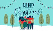 Merry Christmas Greeting Card Illustration Of Young People Friend Group Hugging Together At Holiday  poster