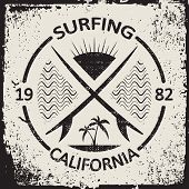 California surf wear typography emblem. Surfing t-shirt graphic design. Surfers print stamp. Creativ poster