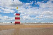 Lighthouse On The Amazing Lakolk Beach After Heavy Rain. This Beach Is  Beach After Heavy Rain, Jutl poster