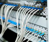 network hub and patch cables,Fiber cables connected to servers in a datacenter(See more network cabl
