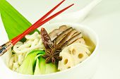 a white bowl of udon noodle soup with char sui pork and lotus root