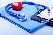 Medical Stethoscope, Patient Medical History List, Rx Prescription, Red Heart And Blue Doctor Unifor poster