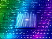 pic of microprocessor  - central microprocessors for a computer on a technology fiber optic background - JPG