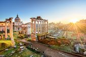Forum In Rome, Italy. Roman Forum, Foro Romano, At Sunrise.rome Architecture And Landmark. Ancient F poster