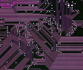 Digitally Generated Image of purple computer circuitboard