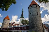 Medieval Streets Of Old Town Tallinn With Towers, Estonia poster