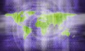an image of flat world map on binary code background