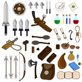 Collection Of 46 Items For Adventure Isolated On White Background. Adventurer Equipments. Medieval W poster