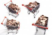 pile of American One Cents in shopping carts