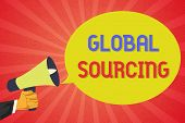 Conceptual Hand Writing Showing Global Sourcing. Business Photo Text Practice Of Sourcing From The G poster
